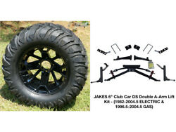 Club Car Ds Jakes 6 Double A-arm Lift Kit + 12 Wheels And 22 Mud Crawler Tires