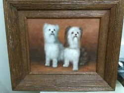 Two White Puppies H. King Decorative Oil Painting In Good Condition