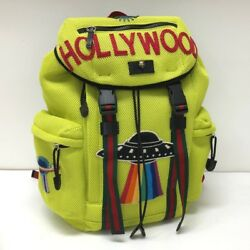 AUTHENTIC GUCCI HOLLYWOOD Embroidery Applique Backpack Yellow Nylon 429037