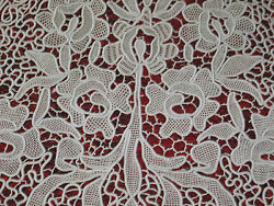 Antique Hand Made Gros Point Needlepoint Lace Panel-venetian-curtain 110x63-htf