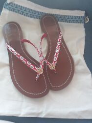 Auth sz8.5 tory burch leather red flower flip flops thongs with dust and paper