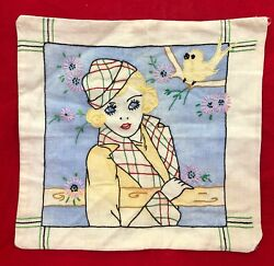Vintage Tinted Embroidered Pillow Cover - Beautiful 1940's Woman In Hat And Bird