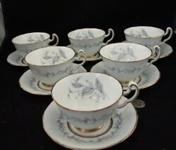 Set Of 8 Northumbria Morning Mist Tea Cups And Saucers A.g. Limited