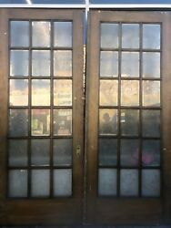 Antique French Door Blue Chip Glass Etched Doors Ea Door 104 X 42