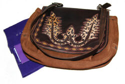 Polo Ralph Lauren Collection Women Western Suede Leather Messenger Bag USA Brown