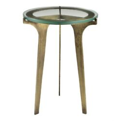 21 T Accent Table Antique Brass Finished Iron Tempered Solid Glass Top
