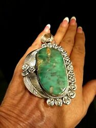 Native American Navajo Sterling Silver And Damele Turquoise Large Signed Pendant
