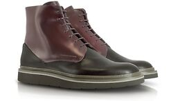 Porsche Design Chicago ML3 Black And Burgundy Patent Leather Ankle Boots