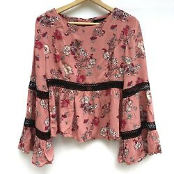 Minkpink Womens Pink Floral Crochet Bell Sleeve Cropped Blouse Boho Hippie Small