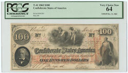 1862 100 Csa Confederate States Of America Note T-41 Pcgs Very Choice New 64