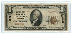1929 10 Banknote Type 1 California First National Bank Of Long Beach Ch 11873