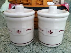 Longaberger Pottery Set Of 2 Condiment Crocks W Lid Traditional Red