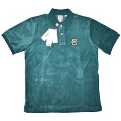 Nwt Supreme X Lacoste Men's Teal Green Logo Velour Polo Shirt Ss18 Ds Authentic