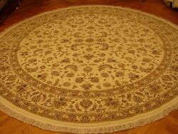 10x10 Ivory Durable Excellent Quality Handmade Round Traditional Wool And Silk Rug