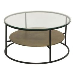 35.5 W Tempered Glass Top Coffee Table Bronzed Metal Frame Fixed Metal Shelf
