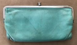 $110 HOBO INTERNATIONAL LAUREN BOTTLE GREEN LEATHER DOUBLE FRAME WALLET CLUTCH