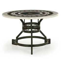 Fine Italian Neoclassical Pietra Dura Marble & Bronze Antique Round Center Table