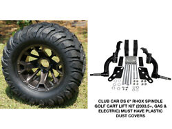 Club Car Ds Rhox 6 Spindle Lift Kit + 12 Wheels And 22 Mud Crawler Tires