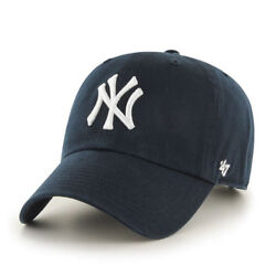 New York Yankees #x27;47 Brand Navy Blue Clean Up Adjustable Dad Hat
