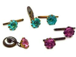 Antique Paste Turquoise And Pink Cufflink And Shirt Stud Sets