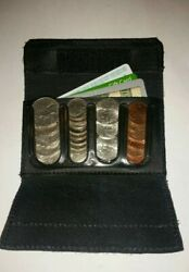 New Leather Coin Sorter Wallet Black Change Purse Small Compact Edc Organizer