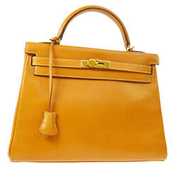 Auth HERMES KELLY 32 SELLIER 2way Hand Bag Brown Vache Liegee France JT06988