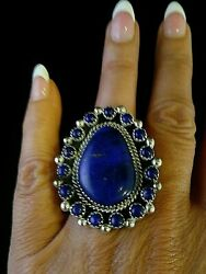 Size 6.5 Native American Navajo Signed Blue Lapis Sterling Silver Ring By T.jon