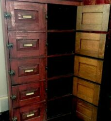 Primitive Farmhouse Cabinet19th Century Red Painted Library Antique Apothecary