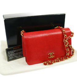 Authentic CHANEL CC Logos Chain Shoulder Bag Red Lizard Skin EXCELLENT N00697