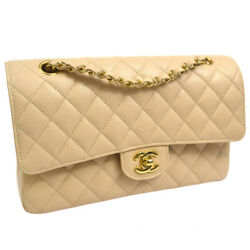 Auth CHANEL Quilted CC Double Flap Chain Shoulder Bag Beige Caviar Skin AK20142