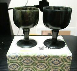 Pair Of Small Chinese Spinach Green Jade Bowl Compote Cups In Box