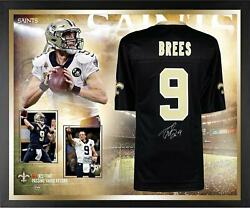 Drew Brees NO Saints NFL Passing Yards Record Frmd Signed Black Jersey Collage