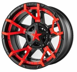 20x12 BLACK RED rims XD827 ROCKSTAR 3 2007-2019 LIFTED JEEP WRANGLERS 5x5 -44mm