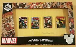 Disney Store D23 2017 Expo Marvel Comic Book Covers 4 Pin Set Limited Ed Le 500