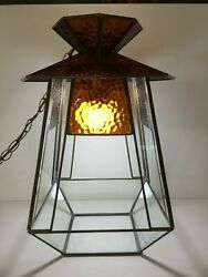 Vintage Stained Glass Hanging Lantern Light, Retro Pagoda Shape Swag Lamp, 18 T