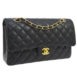 Auth CHANEL Quilted CC Double Flap Chain Shoulder Bag Black Caviar Skin YG01820