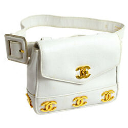 Auth CHANEL Quilted CC Waist Bum Bag White Caviar Skin Leather Vintage AK22824