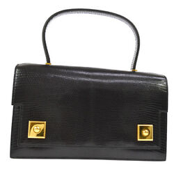RARE! Authentic HERMES PIANO Hand Bag Black Lizard Skin France Vintage AK21927