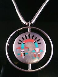 Zuni Mosaic Inlay Spinner Sterling Silver Necklace 16 Inch F.l Natachu
