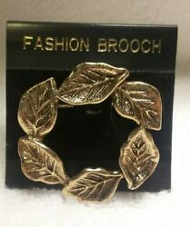 Round Faux Pearl Pin Brooch Gold Tone vines leaves Vintage costume fashion 2 in.