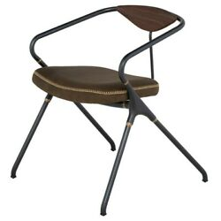 23.8 W Dining Chair Bent Steel Frame Oak Backrest Leather Seat Iron Accents