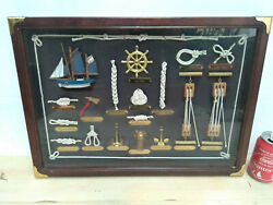 Vintage 80´s Navy Frame With Real Sailor Knots In Roop And Brass Sailor Tools 21