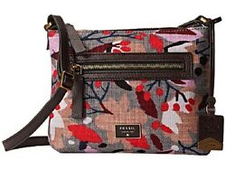 New Fossil Women Vickery Floral Canvas Crossbody Bag Multi Color #ZB6681