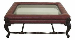 30649ec Large Leather Wrapped Carved Mahogany Glass Top Coffee Table