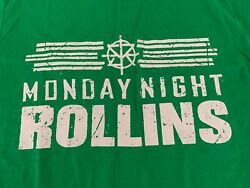 Monday Night Rollins T Shirt Green Seth Rollins Medium WWE NXT Shield Messiah M