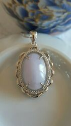 Genuine Large Lavender 11.05ct Jadeite Jadetype A925 Silver Pendant With Chain
