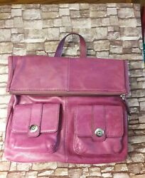 Lodis Maggie Designer Leather Convertible Backpack BERRY PINK Free S