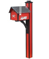 Red And Black Fire Dept Poly Mailbox With Post And White Ladder-shaped Flag