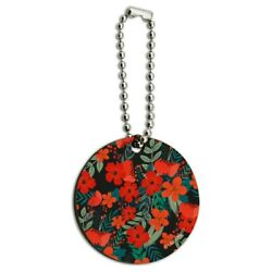 Cecilie Flowers Pattern Wood Wooden Round Keychain Key Chain Ring