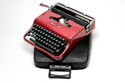 Olivetti Pluma 22 Coral Red Mint Condition Perfectly Working Typewriter
